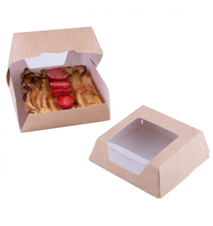Paper Cake Box with Window Kraft 14x14x5cm (250 Units)