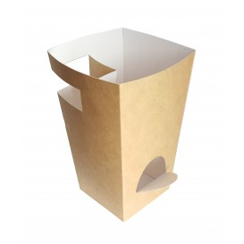 Paper Food Box for Churros with Cup Holder Kraft 7,8x7,8x17,9cm (25 Units)