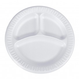 """Foam Plate Foam """"Quiet Classic"""" 3 C. Laminated White Ø23 cm (500 Units)"""