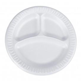 """Foam Plate Foam """"Quiet Classic"""" 3 C. Laminated White Ø23 cm (125 Units)"""