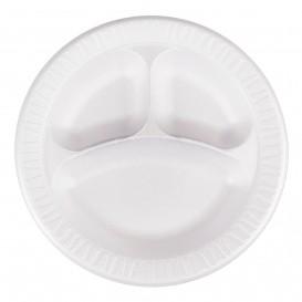 """Foam Plate Foam """"Quiet Classic"""" 3 C. Laminated White Ø26 cm (500 Units)"""
