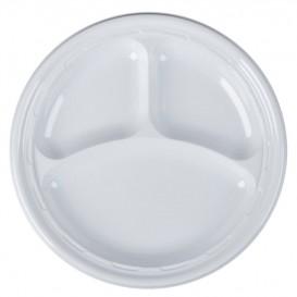 """Plastic Plate PS """"Famous Impact"""" 3 C. White Ø26 cm (125 Units)"""