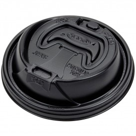 Plastic Lid PS Resealable Black Ø9,4cm (100 Units)