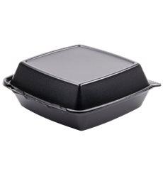Foam Lunch Box 3 Compartments Black 2,10x2cm (100 Units)