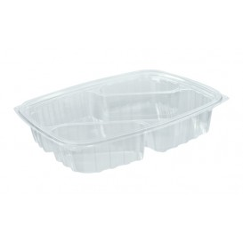 "Plastic Deli Container OPS ""ClearPac"" 3 Compartments Diagonal Clear 887ml (63 Units)"