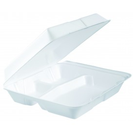 Foam Lunch Box 3 Compartments Removable Lid White 2,40x2,35cm (100 Units)