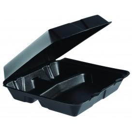 Foam Lunch Box 3 Compartments Black 2,40x2,35cm (100 Units)