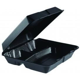 Foam Lunch Box 3 Compartments Removable Lid Black 2,40x2,35cm (100 Units)