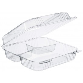"""Plastic Hinged Deli Container OPS 3 Compartments """"StayLock"""" Clear 1120ml (100 Units)"""