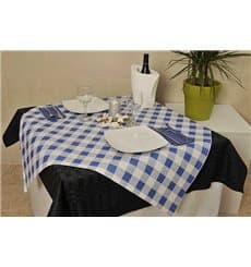 Pre-Cut Paper Tablecloth Blue Checkers 40g 1x1m (400 Units)