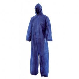 """Disposable Plastic Coverall """"TST"""" PP Hood Zipper Size L Blue (1 Unit)"""