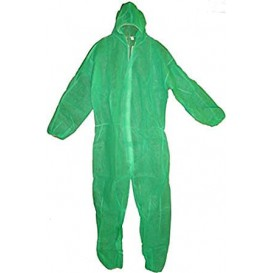 "Disposable Plastic Coverall ""TST"" PP Hood Zipper Size L Green (1 Unit)"