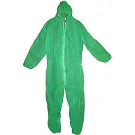 "Disposable Plastic Coverall ""TST"" PP Hood Zipper Size XXL Green (50 Units)"