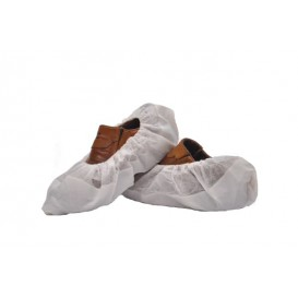 Disposable Plastic Shoe Covers with Reinforce Sole TST PP CPE White (50 Units)