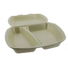 Foam Lunch Box 2 Compartments Champagne 2,40x2,10x0,70cm (250 Units)
