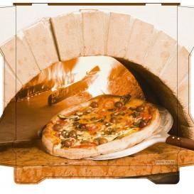 """Corrugated Pizza Box """"Al Bassanello Forno"""" 33x33x4,2cm (100 Units)"""