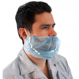"Disposable Beard Cover ""TST"" PP Blue Detectable (100 Units)"
