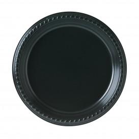 Plastic Plate Party PS Flat Black 23 cm (500 Units)