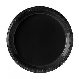 Plastic Plate Party PS Flat Black 26 cm (25 Units)