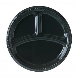 Plastic Plate Party PS Flat Black 3C 26 cm (500 Units)