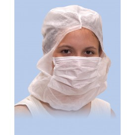 Disposable Surgeon Hood with Mask 3 Layers White (500 Units)