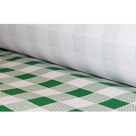 Paper Tablecloth Roll Green Checkers 1x100m. 40g (6 Units)