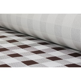 Paper Tablecloth Roll Brown Checkers 1x100m. 40g (6 Units)