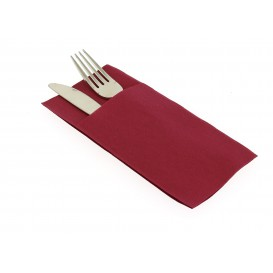 Pocket Fold Paper Airlaid Napkins Kanguro Burgundy 33x40cm (30 Units)