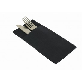 "Pocket Fold Airlaid Napkins ""Kanguro"" Black 40x40cm (480 Units)"