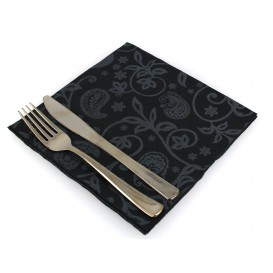 "Airlaid Napkins ""Cachemir"" Black 40x40cm (600 Units)"