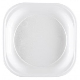 Plastic Plate PS PS Square shape White 20x20 cm (50 Units)
