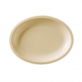 "Plastic Platter Microwavable Oval Shape Cream ""Round"" 25,5x19 cm (600 Units)"