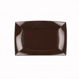 "Plastic Tray Microwavable Brown ""Nice"" 28x19cm (240 Units)"