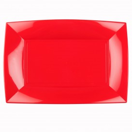 "Plastic Tray Microwavable Red ""Nice"" 34,5x23cm (60 Units)"