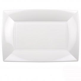 "Plastic Tray Microwavable White ""Nice"" 34,5x23cm (60 Units)"