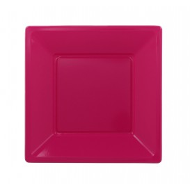 Plastic Plate Square shape Flat Fuchsia 23 cm (750 Units)