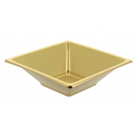 Plastic Bowl PS Square shape Gold 12x12cm (25 Units)
