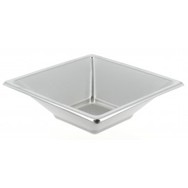 Plastic Bowl PS Square shape Silver 12x12cm (25 Units)