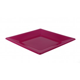 Plastic Plate Flat Square shape Fuchsia 17 cm (25 Units)