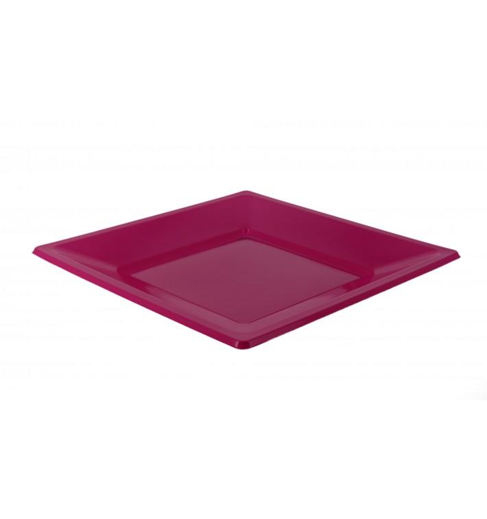 Plastic Plate Square shape Flat Fuchsia 17 cm (750 Units)