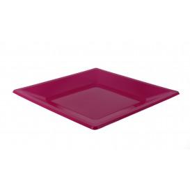 Plastic Plate Flat Square shape Fuchsia 23 cm (25 Units)