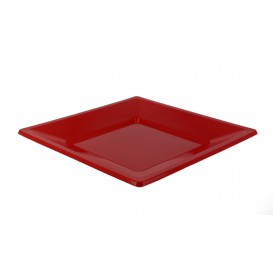 Plastic Plate Flat Square shape Red 17 cm (25 Units)