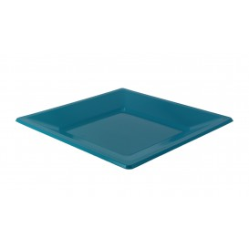 Plastic Plate Flat Square shape Turquoise 17 cm (300 Units)