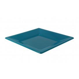 Plastic Plate Flat Square shape Turquoise 23 cm (180 Units)