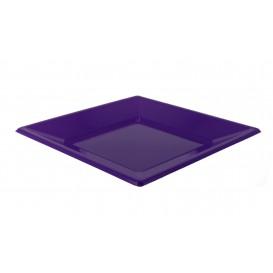 Plastic Plate Flat Square shape Lilac 17 cm (300 Units)