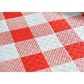 Pre-Cut Paper Tablecloth Red Checkers 40g 1x1m (400 Units)