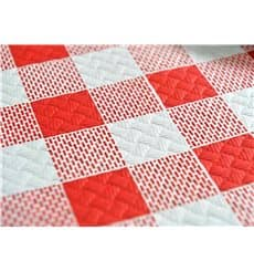 Pre-Cut Paper Tablecloth Red Checkers 37g 1x1m (400 Units)
