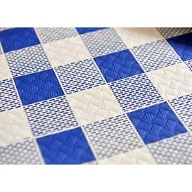 Pre-Cut Paper Tablecloth Blue Checkers 40g 1x1m (400 Units)