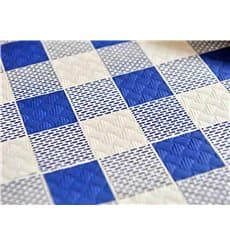Pre-Cut Paper Tablecloth Blue Checkers 37g 1x1m
