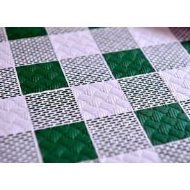 Pre-Cut Paper Tablecloth Green Checkers 40g 1x1m (400 Units)